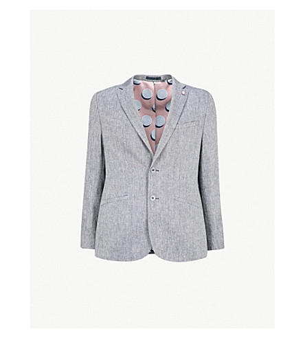 TED BAKER Woven classic-fit linen-blend jacket (Blue