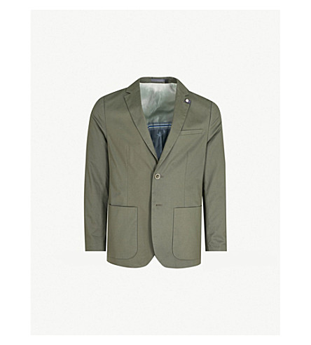 TED BAKER Cliford re-luxed-fit stretch-cotton blazer (Khaki