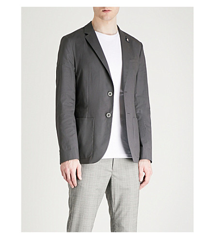 TED BAKER Cliford re-luxed-fit stretch-cotton blazer (Light+grey