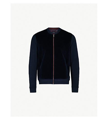 TED BAKER Quilted velvet bomber jacket (Navy