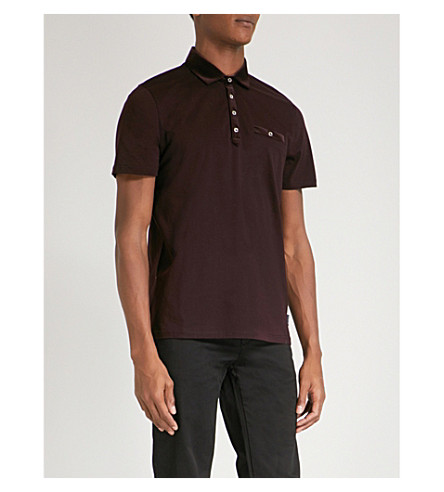 TED BAKER Velvet collar cotton shirt (Dark+red