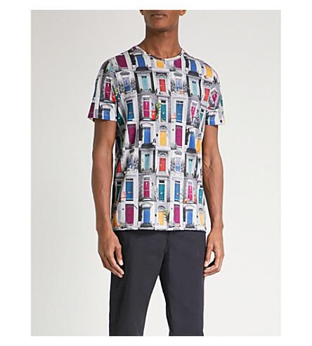 TED BAKER Door print cotton-jersey T-shirt (Grey