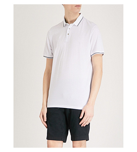TED BAKER Abot geometric-print cotton polo shirt White Discount Perfect Buy Online With Paypal Free Shipping Really Cheap Authentic Outlet Cheap Real Authentic KpTuk