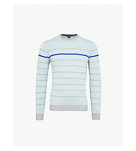 TED BAKER Britnay striped knitted jumper (Blue