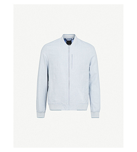 TED BAKER Raney linen and cotton-blend bomber jacket (Blue