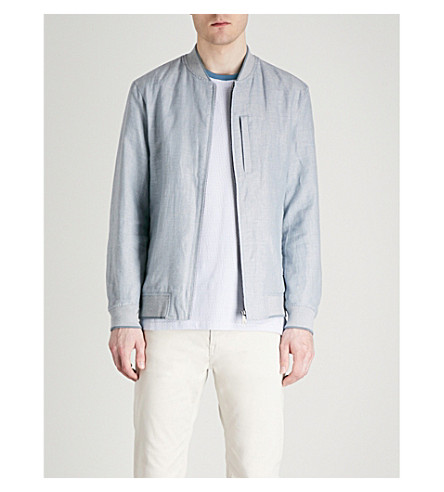 TED BAKER Raney linen and cotton-blend bomber jacket Blue Buy Cheap Outlet Store 55mpjcQ