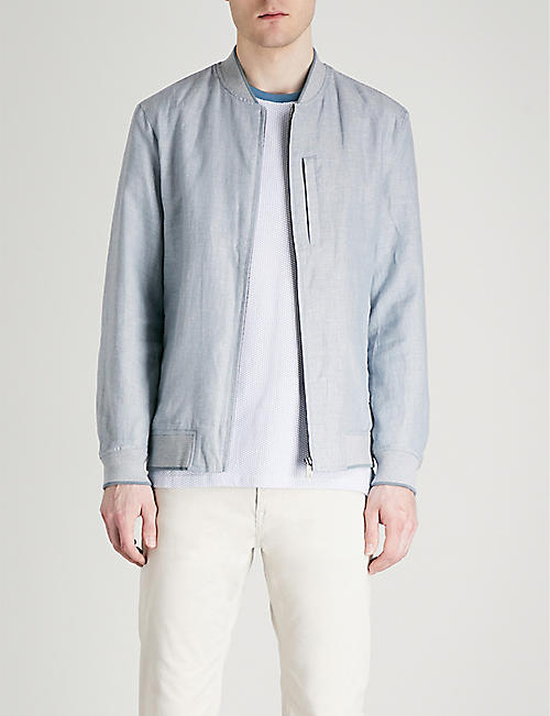 TED BAKER Raney linen and cotton-blend bomber jacket