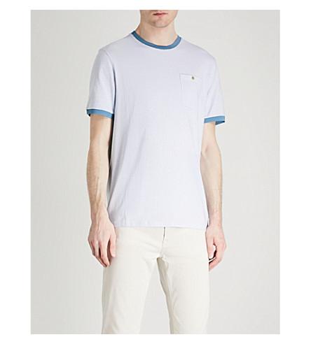 TED BAKER Colla geometric-print stretch-cotton T-shirt (Blue