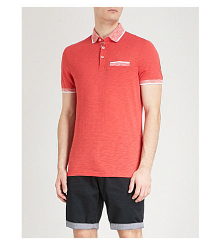 Clearance Free Shipping Best Prices Cheap Price TED BAKER Dalmat contrast-collar cotton-jersey polo shirt Red Pre Order For Sale Manchester For Sale Lowest Price For Sale XdHgXzz