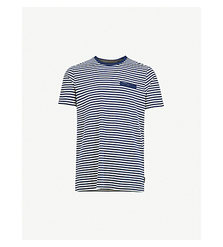 TED BAKER Striped cotton-blend T-shirt (Dark+blue