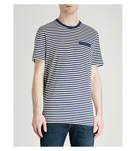 TED BAKER Striped cotton-blend T-shirt (Dark+blue