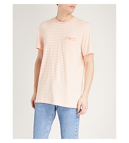 TED BAKER Striped cotton-blend T-shirt Light orange 100% Guaranteed In UK Cheap Online Free Shipping Lowest Price Clearance Popular lvU40ihgl