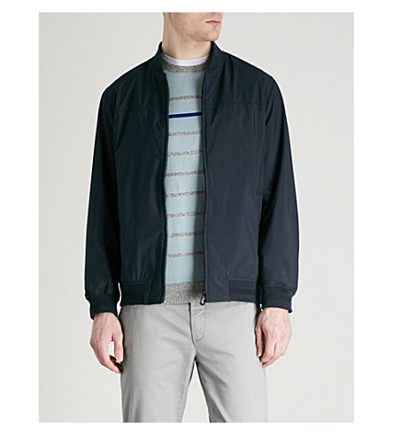 TED BAKER Knitted-trim woven bomber jacket (Navy