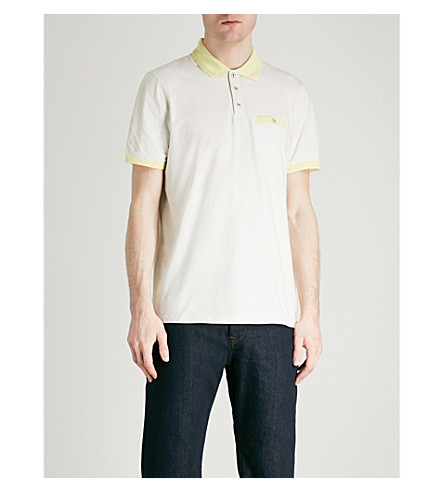 TED BAKER Geometric-print stretch-cotton polo shirt (Lemon