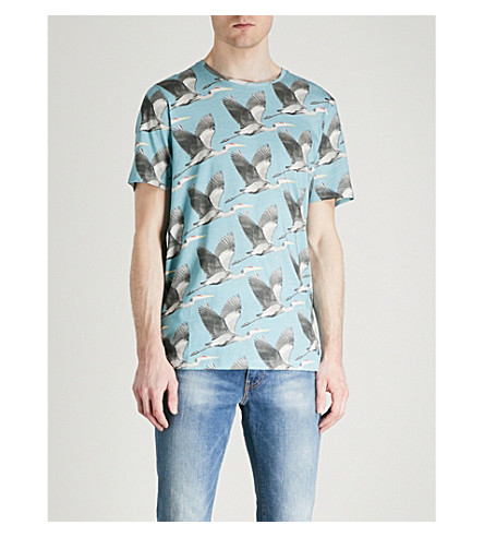 TED BAKER Flute bird-print cotton-jersey T-shirt (Mid+blue