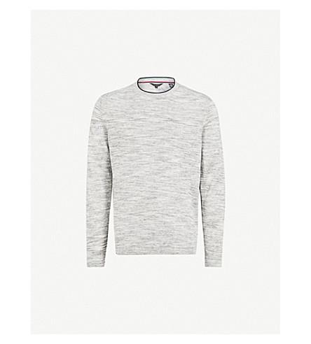 TED BAKER Contrast-detail linen-blend jumper (Light+grey