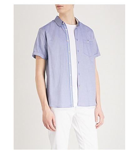 TED BAKER Regular-fit patterned cotton Oxford shirt (Blue
