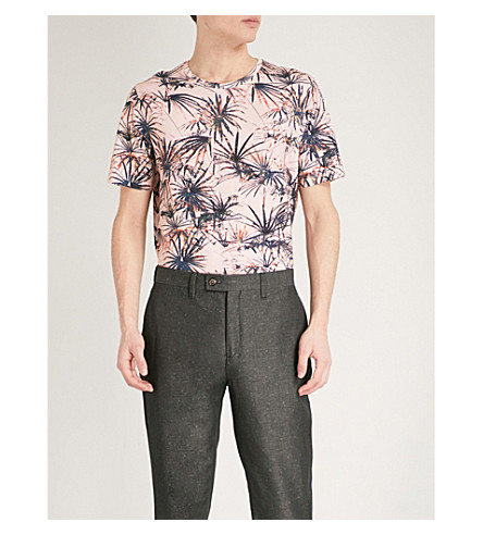 TED BAKER Yorkii tropical print cotton-jersey T-shirt (Mid+orange