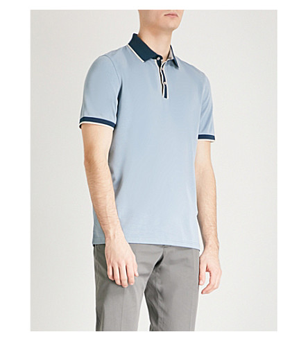 TED BAKER Striped-trims woven polo shirt (Blue