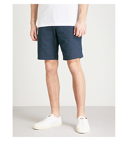 TED BAKER Geometric-print regular-fit cotton shorts (Navy