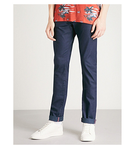 TED BAKER Printo tailored-fit tapered jeans (Blue