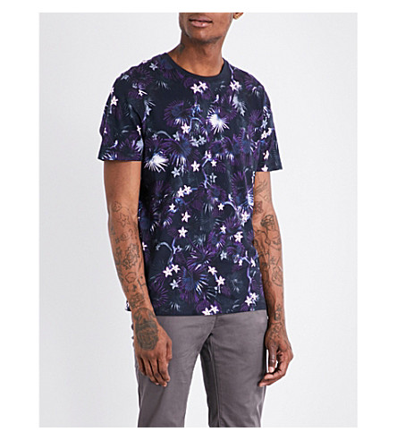 TED BAKER Monnkee monkey and floral-print cotton-jersey T-shirt (Navy