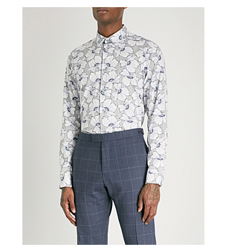 TED BAKER Floral-print cotton shirt (Light+blue