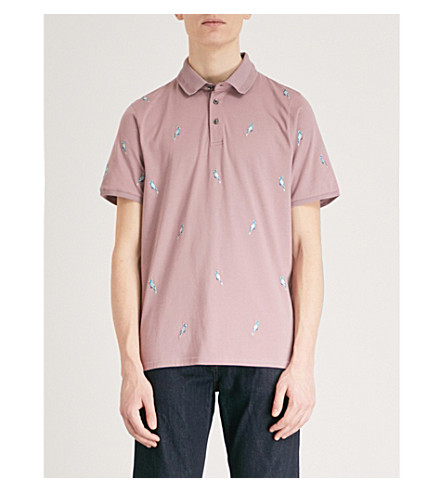 TED BAKER Scraffy cockatoo-embroidered cotton polo shirt (Dusky+pink