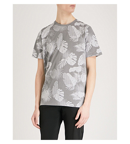 TED BAKER Scotty leaf-print cotton T-shirt (Grey