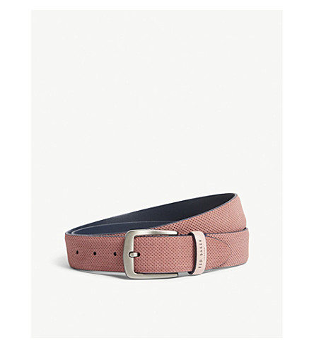 TED BAKER Trinnie micro-perforated suede belt (Dusky+pink