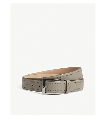 TED BAKER Havan brogue-detail leather belt (Grey