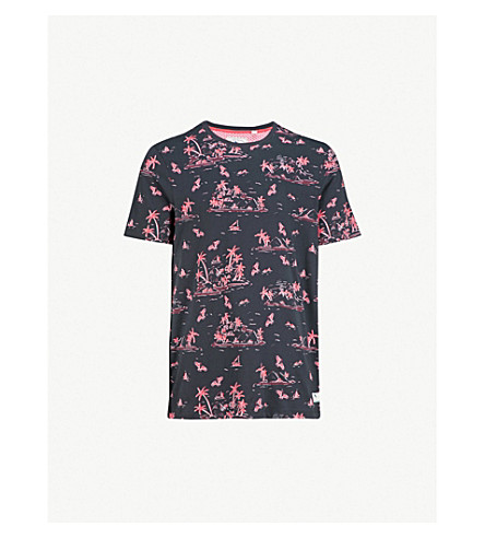 TED BAKER Island print cotton t-shirt (Navy