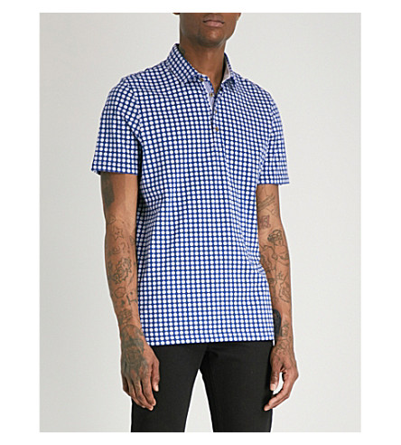 TED BAKER Lost geometric pattern cotton polo shirt (Bright+blue