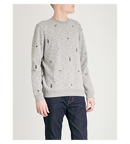 TED BAKER Embroidered-detail jersey sweatshirt (Grey+marl