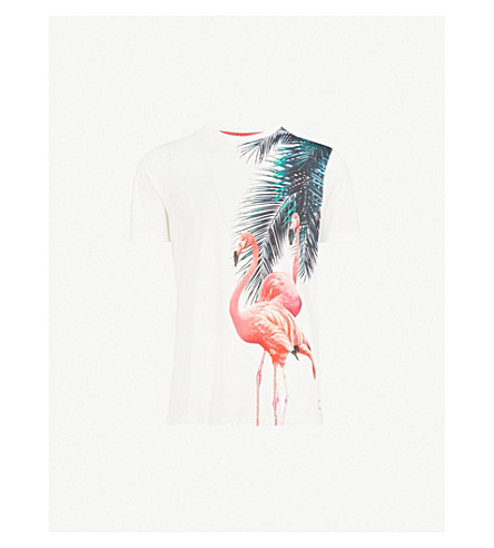 TED BAKER Flaame flamingo-print cotton-jersey T-shirt (White