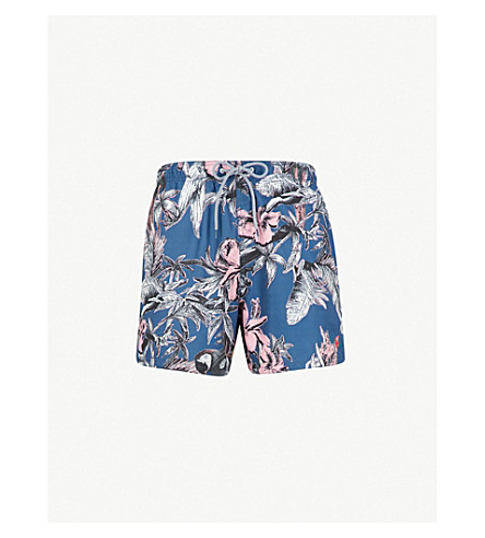 TED BAKER Elms printed swim shorts (Dark+blue