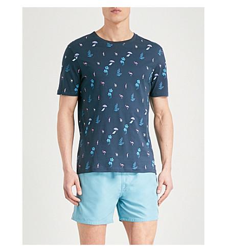 TED BAKER Winndy printed cotton-jersey T-shirt (Navy