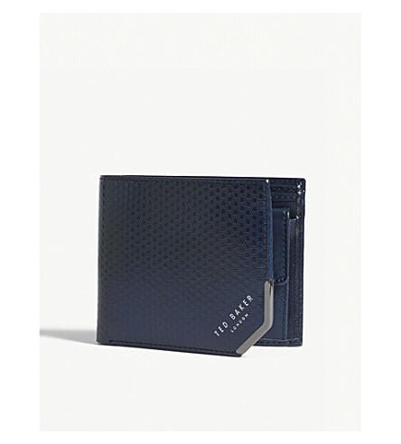 TED BAKER Embossed leather bi-fold wallet (Navy