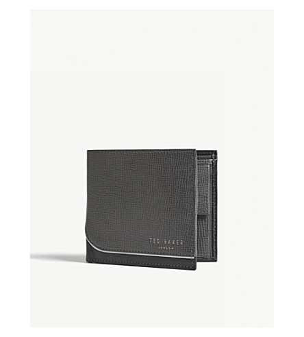 TED BAKER Textured leather bi-fold wallet (Charcoal