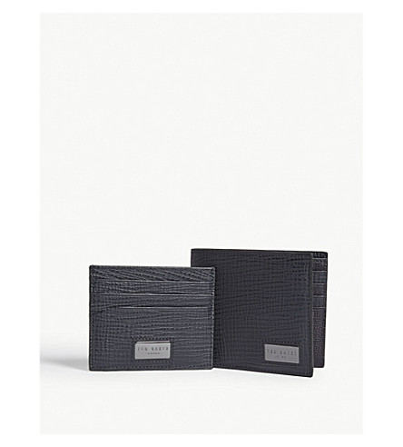 TED BAKER Leather wallet and card holder gift set (Navy