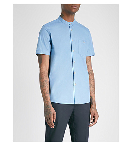 TED BAKER Band-collar slim-fit cotton shirt (Blue