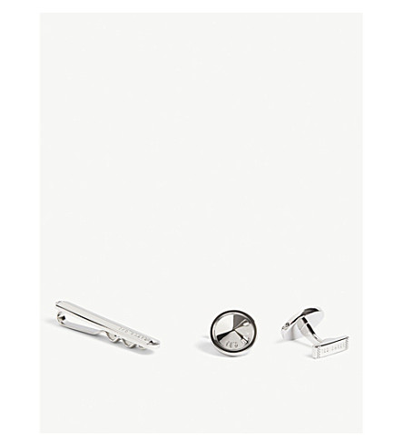 TED BAKER COURTS tie bar and cuff links gift set (Silver+colou