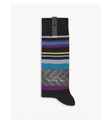 TED BAKER Harisli striped cotton-blend socks (Black