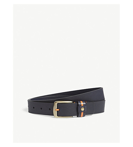 TED BAKER Glast striped tab leather belt (Navy