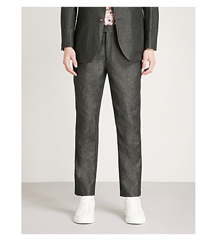 TED BAKER Haytro diamond dobby re-luxed-fit cotton and linen-blend trousers (Charcoal