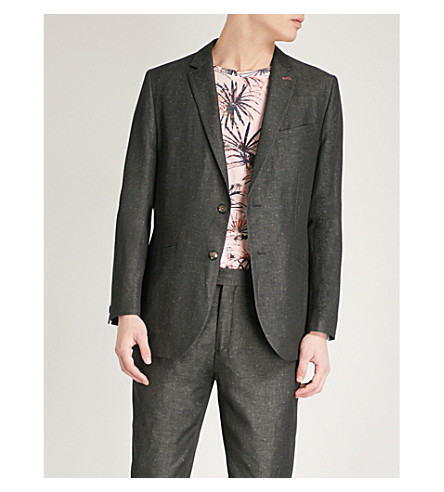 TED BAKER Hayward diamond dobby re-luxed-fit cotton and linen-blend jacket (Charcoal