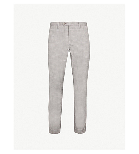 TED BAKER Samwise checked slim-fit skinny cotton trousers (Grey