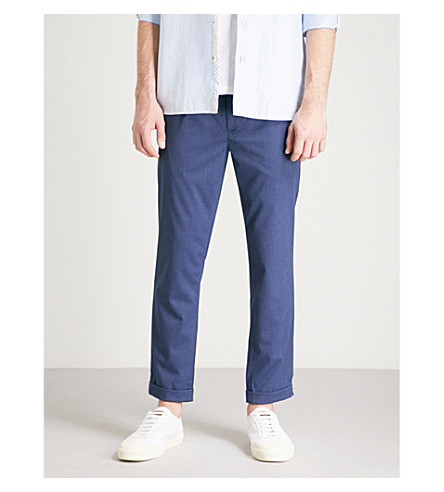 TED BAKER Cropped slim-fit tapered woven trousers (Blue