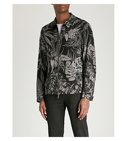 TED BAKER Gorgy printed linen and cotton-blend jacket (Black
