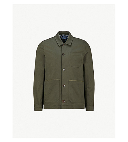 TED BAKER Pocketed stretch-cotton overshirt (Khaki